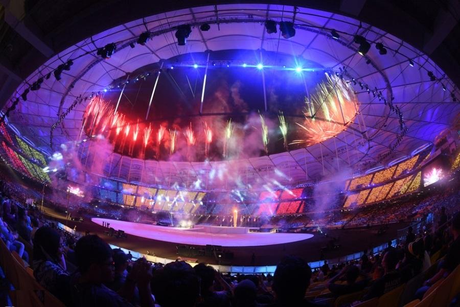Khai mạc sea games 29, lễ khai mạc, khai mạc trong mưa.