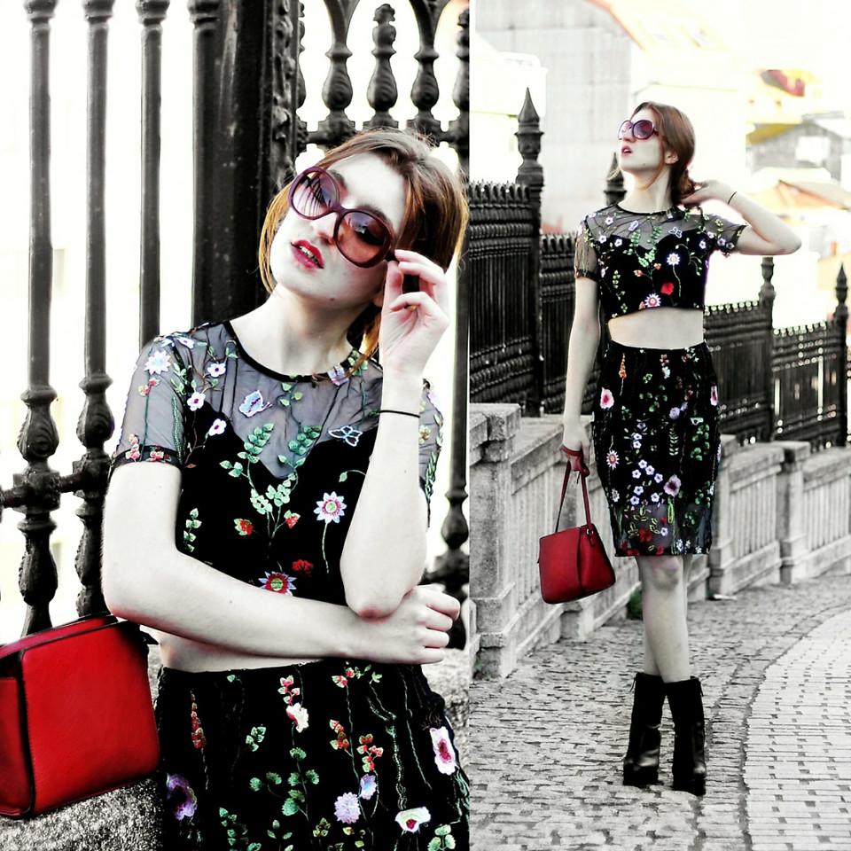đầm hoa xuyên thấu, thời trang thu 2017, mẫu đầm hoa