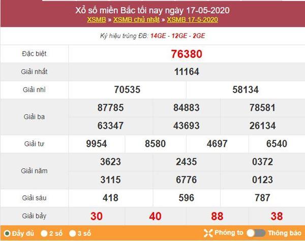 Soi cầu XSMB 18/5/2020 KQXSMB nhanh và chuẩn nhất