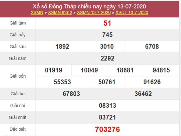 Dự đoán XSDT 20/7/2020 chốt KQXS Đồng Tháp thứ 2