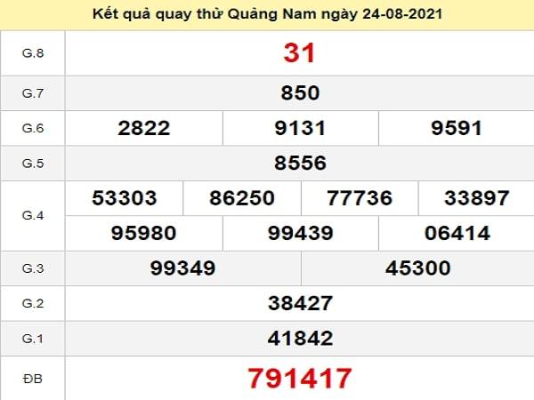 Quay thử xổ số Quảng Nam ngày 24/8/2021